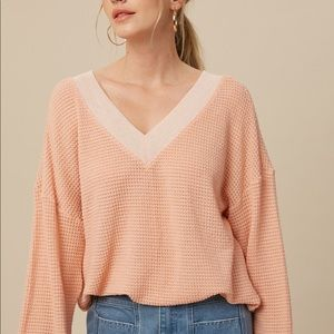 NWT Waffle Knit Pink Top